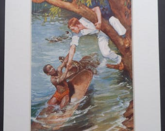 Vintage Boys Print 1930's - Boys Adventure Print - Native Chief's Son Saved from Crocodile - Boys Room Wall Decor  - Matted - Ready to Frame