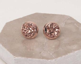 Rose Gold Earrings Rose Gold Druzy Earrings Rose Gold Stud