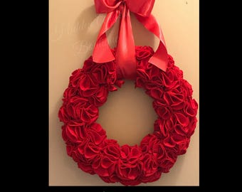 Red Felt Ruffle Wreath, Valentines Day, Wedding, Christmas