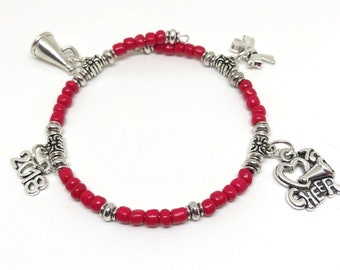 RED Cheerleading Coil Bracelet 11 COLORS 4 Charms, Custom Bracelet, Cheerleading Jewerly, Cheerleading Gift, Cheer Charm, Cheerleader Award