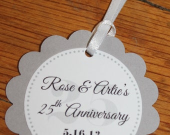 25 Tags; Scallop Anniversary Favor Tag with Ribbon; Silver; Personalized; 25th Wedding Anniversary