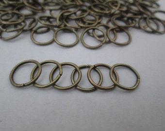 20 Grams (~200) Jump Rings, 8mm Antique Bronze Color Jump Rings, Nickel Free, Closed but Unsoldered Iron Jumprings