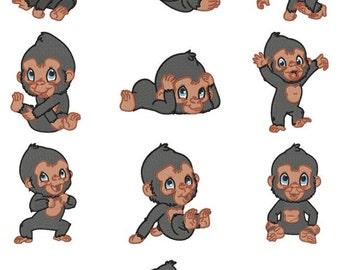 Baby Gorilla Embroidery Design Zip File Download