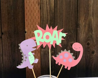 Pink/Purple/Mint Dinosaur Centerpieces, girl dinosaur party, girl dinosaur birthday, dinosaur party, dinosaur birthday, pink, mint, purple
