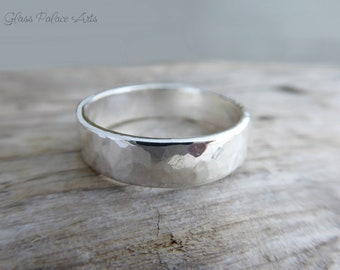 Men's Wedding Band, Sterling Silver Ring For Men, 6mm Hammered Engagement Ring For Him, His Wedding Band, Gift For Dad, For Father