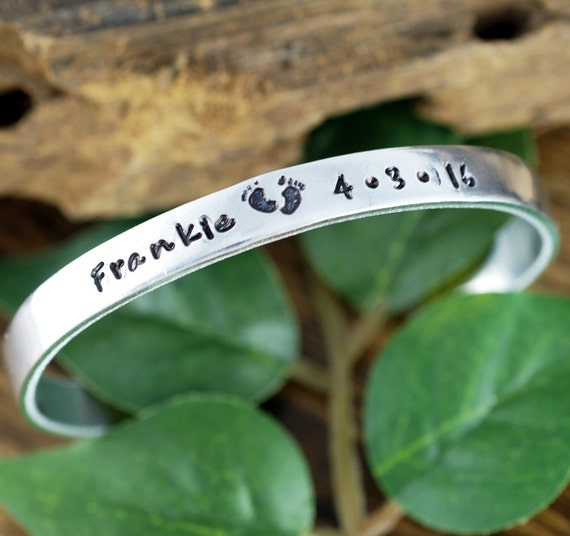 Personalized Baby Feet Cuff Bracelet, Hand Stamped Cuff Bracelet, New Mommy Bracelet, New Mom Jewelry, Birthdate Jewelry, Baby Feet Bracelet