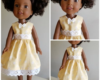 Yellow and White Flowered Dress for the 14.5 Inch Doll Like Wellie Wishers