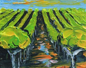 Original Painting, Vineyard Vines, Carmel Valley, Landscape Painting, California Art, Palette Knife, Textured Oil, Impasto Art, Colorful Art