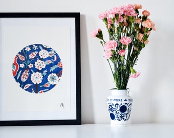 Hand Painted Watercolour Oriental Painting