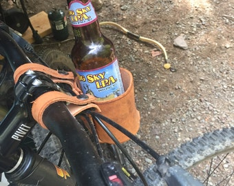 Leather Bicycle Can and Bottle Cup Holder, bicycle accessories, beach cruiser cup holder