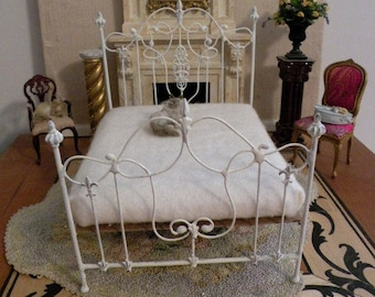 """Dollhouse Miniature Wrought Iron Bed """"FIONA"""" 1:12 Scale Twin and Full, Half Scale Artisan Made"""