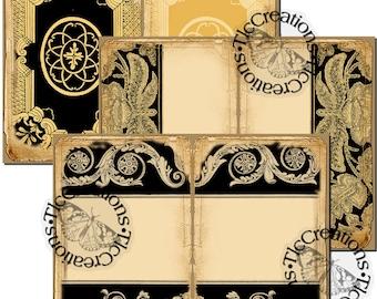 Black and White Elegance, Vintage Printable Journal Papers, Junk Journal, Ephemera