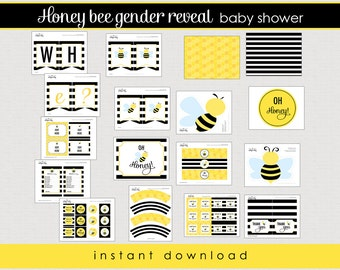 Bumble Bee Gender Reveal Baby Shower Package   Printable Baby Shower    Instant Download //