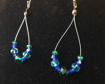 Blue and Green Teardrop Earrings