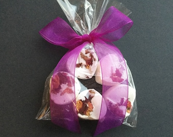 5 Heart Rose scented Bath Bombs with Purple ribbon