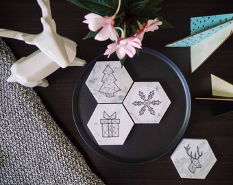 Carrara Marble Coasters - Christmas Decoration - Christmas Gift
