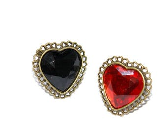 Sweetheart ring red black bronze adjustable ring oversize large heart shape cabochon gothic jewelry lolita statement jewelry dark elegance