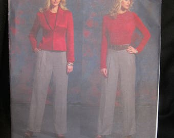 Size 14 - 20, Vogue 2919, Anne Klein New York, princess seamed jacket, standing collar, hook and eye closure, pleated pant with side pockets