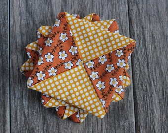Fabric Drink Coasters | Set of 4 - Orange Floral & Yellow Polka Dot Pattern | Criss Cross Design