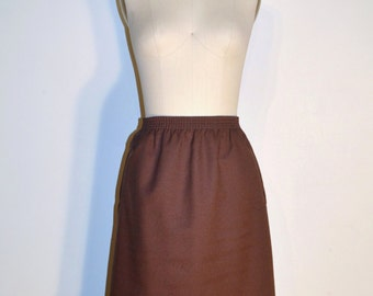 Vintage 1970s Skirt - 70s Pencil Skirt - Brown and White Striped