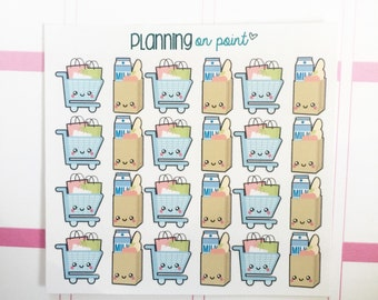 Kawaii Shopping Cart and Grocery Bag Planner Stickers!