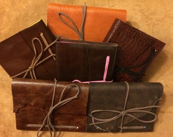 Small Refillable Leather Wrap Journal