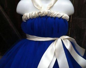 Royal Blue Ivory Tutu Dress