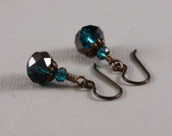 Brown Niobium earrings Two tone Capri Blue Oiled Bronze crystals by EarthsOpulence
