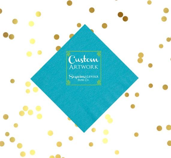 personalized napkins, custom artwork cocktail napkins, monogrammed napkins, party napkins, reception napkins, wedding napkins