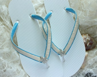 Beach wedding shoes, Bridal Flip flops Ivory/Turquoise, Blue bridal shoes Wedding sandals bridal sandals bride flip flops