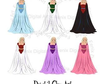 Swan Princess,Fashion girl,Clipart,Line art,Girl graphics,Digi stamp,digistamp,fashion Illustration INSTANT DOWNLOAD