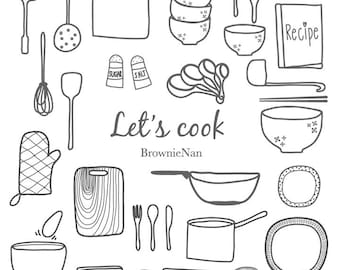 kitchenware clip art set (B&W)