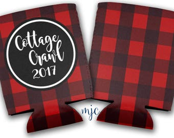 Cottage Crawl - Sorority - Bachelorette Party/Wedding Drink Huggers/Can Insulators - Flannel Can Coolers