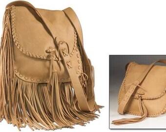 Large Leather Fringe Handbag Kit- Boho Chic Purse - Leather Fringe Purse - DIY kit to make your own purse - craft project