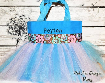 Tutu Bag, Blue Basket, Tutu Bag, Flower Ribbon, Personalized Girl, Ballet Bag, Dance Class Bag, Party Favors Whimsical