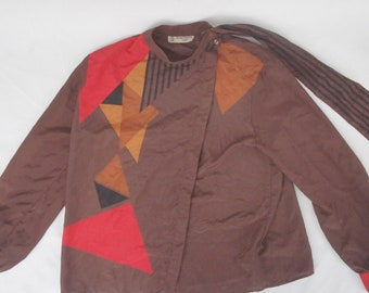 Vintage 70s-80s Geometric Print Blouse By Serge Nacel Paris