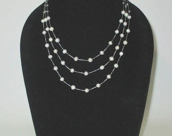 Multi Strand Necklace, Pearl and Crystal by Silk Thread