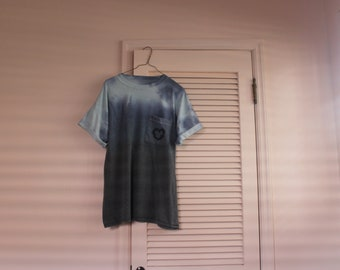 Tie dye shirt with embroidered pocket
