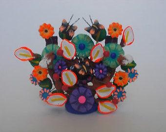 CLAY TREE of LIFE, 100% handmade, colorful mexican folk art