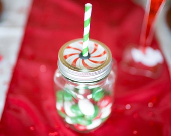 Christmas Peppermint Mason Jar.  Baby Shower. Bridal Shower. Milestone Birthday. Anniversary. Holiday.16 oz jar. Party Favor. Candy Cane