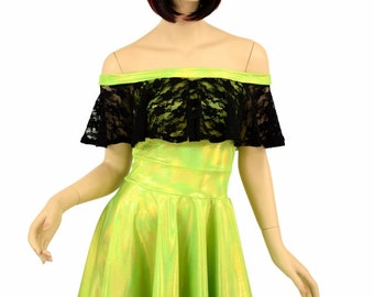 Lime Holographic Off Shoulder Fit and Flare Skater Dress with Black Lace Ruffle Rave Festival Clubwear - 155149