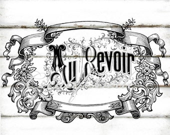French Vintage Au Revoir Ornate Frame Large Black and White Instant Digital Download Printable Transfer Graphic Image paper Craft Supplies