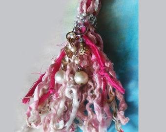 Boho Gypsy Tassel,  Pinks and Pearls, Handmade Ornament Home Decor, Beaded Fiber Art Tassel from Salvaged Fabrics