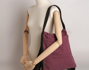 Line backpack and handbag fabric, backpack and shoulder bag. Lilac Color, black straps.