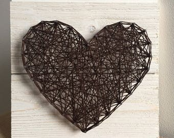 Heart Sign - Wood Sign - Rustic - String Art Heart Sign - Custom Sign