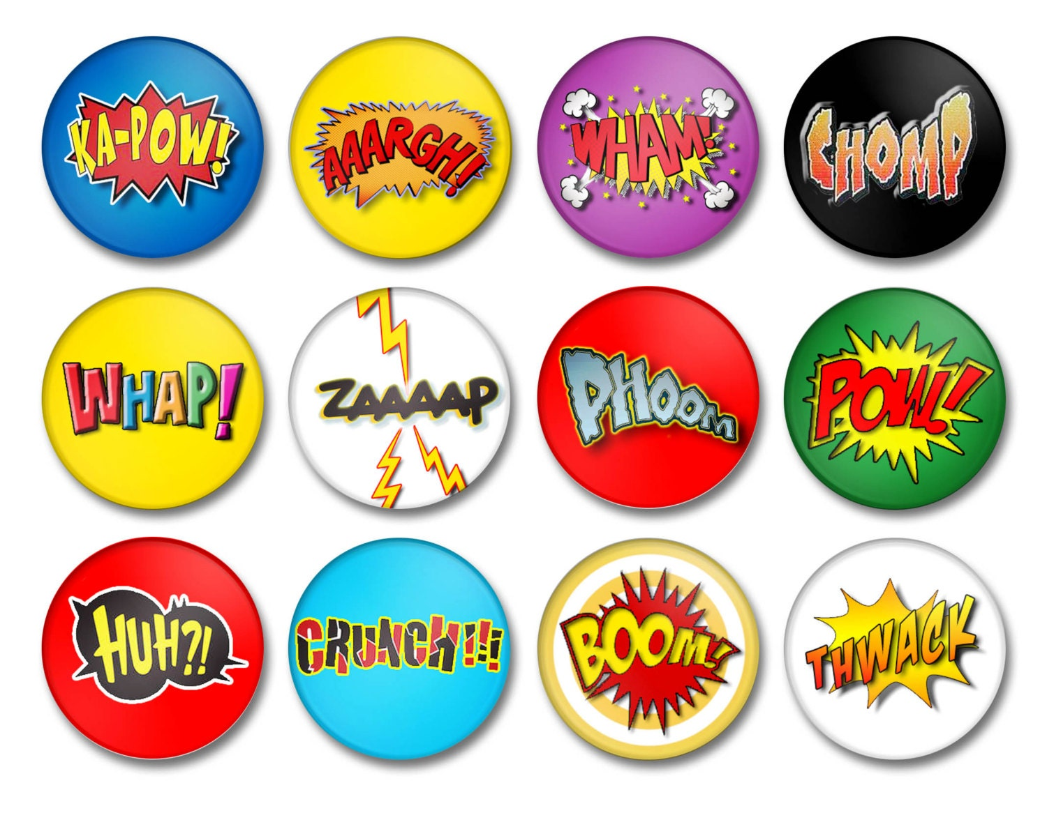 Superhero Comic Book Sound Effects Button Pin Back Or Magnet