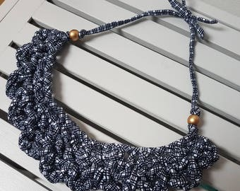 Chunky Black and White Patterned Crochet Necklace