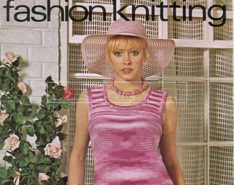 Lady's Summer Vest DK 32-36ins Lister / Lee Target 568 Vintage Knitting Pattern PDF instant download