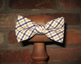 Black and Gold Tattersall Bow Tie~Boys Bow Tie~Cotton Bow Tie~Wedding Tie