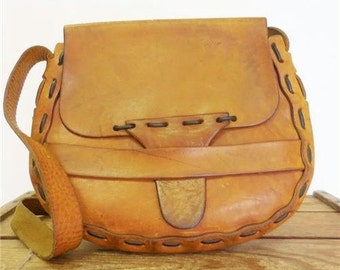 Vintage Handmade 1970s Flap Front Saddle Bag Western Bohemian Shoulder Purse